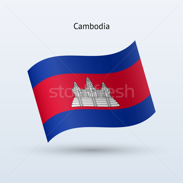 Camboja bandeira forma cinza assinar Foto stock © tkacchuk