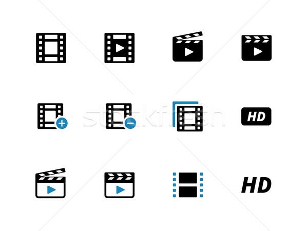 Video duotone icons on white background. Stock photo © tkacchuk