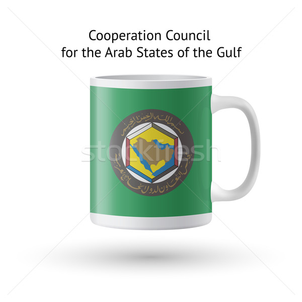 Cooperation Council for Arab States of Gulf flag souvenir mug on white. Stock photo © tkacchuk