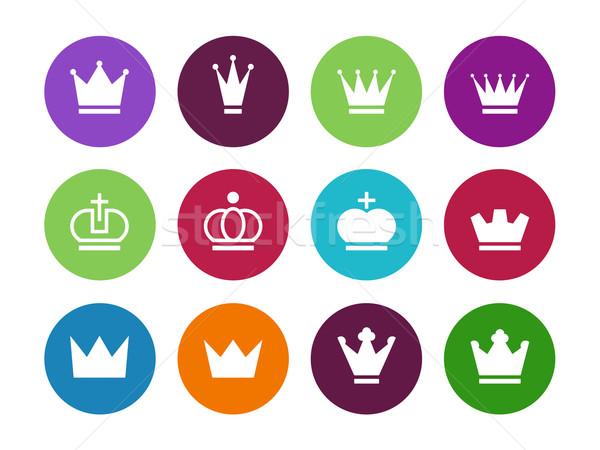 Kroon cirkel iconen witte teken silhouet Stockfoto © tkacchuk