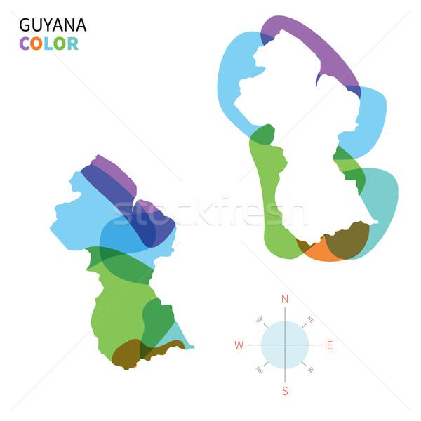Absztrakt vektor szín térkép Guyana átlátszó Stock fotó © tkacchuk