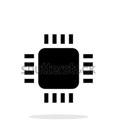 Mini processzor egyszerű ikon fehér kommunikáció Stock fotó © tkacchuk