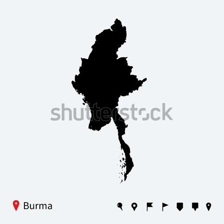 Alto detalhado vetor mapa birmânia navegação Foto stock © tkacchuk