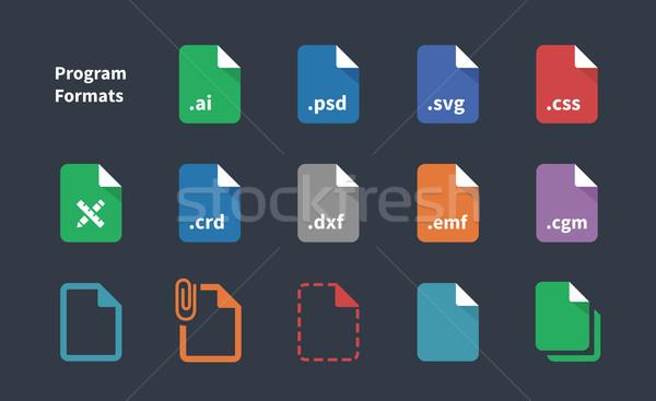 Szett program akta címkék ikon szett ikonok Stock fotó © tkacchuk