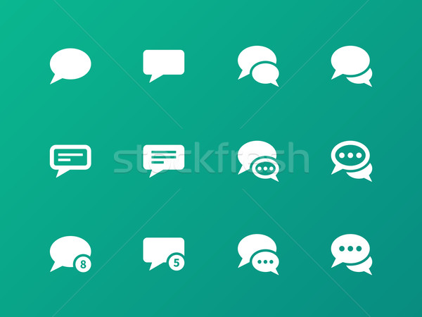 Message bubble icons on green background. Stock photo © tkacchuk