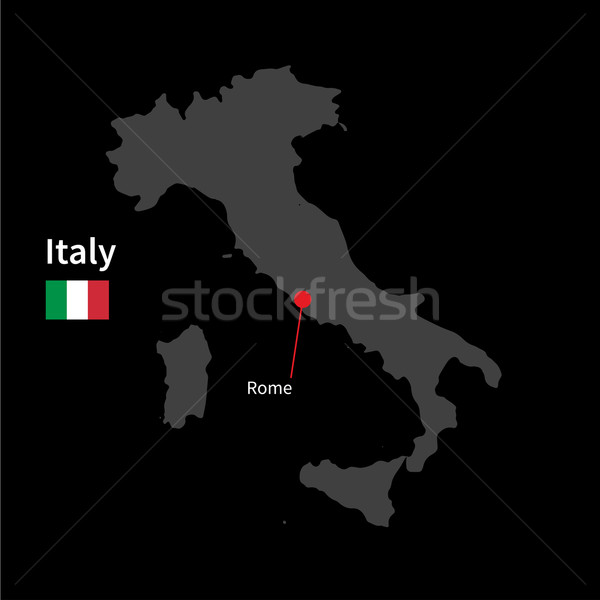 Detailed map of Italy and capital city Rome with flag on black background Stock photo © tkacchuk