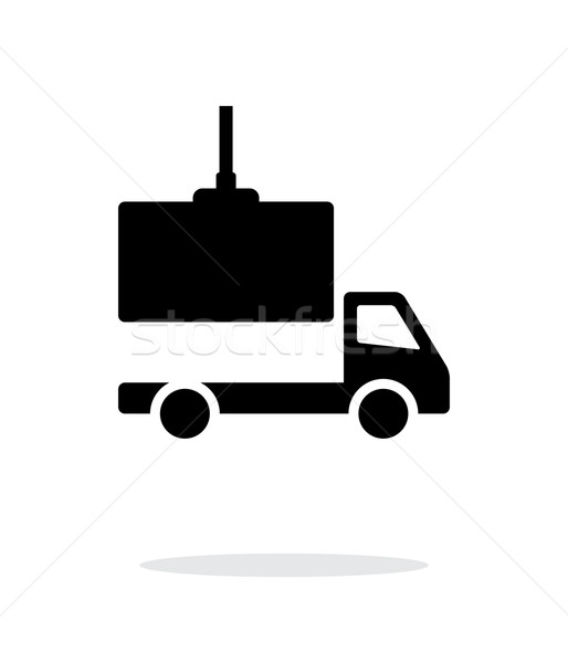 Stock photo: Truck loading simple icon on white background.