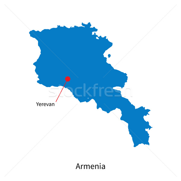Detailed vector map of Armenia and capital city Yerevan Stock photo © tkacchuk