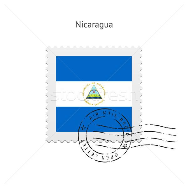 Nicaragua zászló postabélyeg fehér felirat levél Stock fotó © tkacchuk