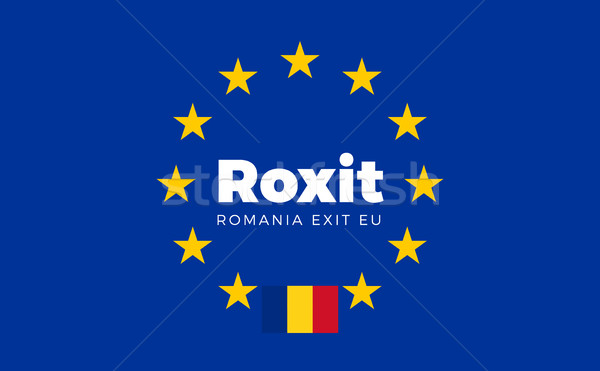 Flag of Romania on European Union. Roxit - Romania Exit EU Europ Stock photo © tkacchuk
