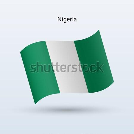 Nigéria bandeira forma cinza assinar Foto stock © tkacchuk