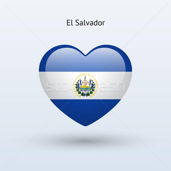 Love El Salvador symbol. Heart flag icon. Stock photo © tkacchuk
