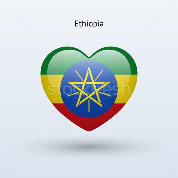 Miłości Etiopia symbol serca banderą ikona Zdjęcia stock © tkacchuk