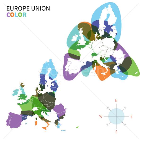 Сток-фото: аннотация · вектора · цвета · политический · карта · Европа