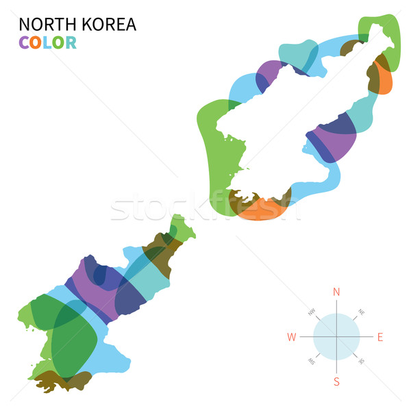 Abstract vector color map of North Korea with transparent paint effect. Stock photo © tkacchuk