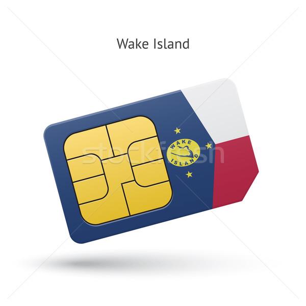 Wake Island mobile phone sim card with flag. Stock photo © tkacchuk