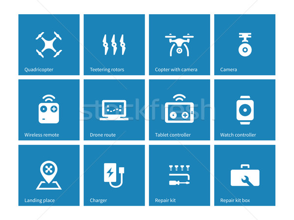 Multicopter drone icons on blue background. Stock photo © tkacchuk