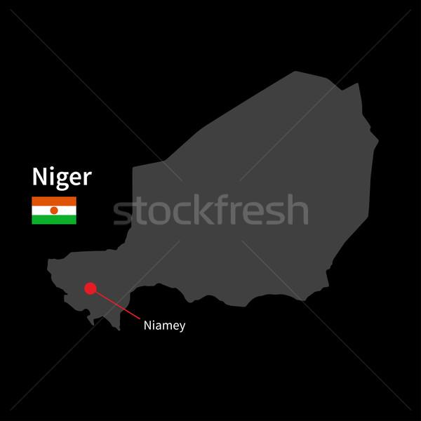 Dettagliato mappa Niger città bandiera nero Foto d'archivio © tkacchuk