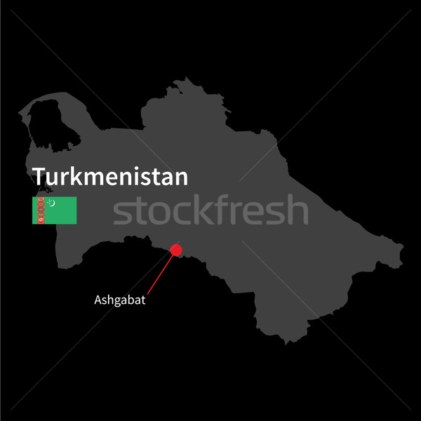 Detailed map of Turkmenistan and capital city Ashgabat with flag on black background Stock photo © tkacchuk