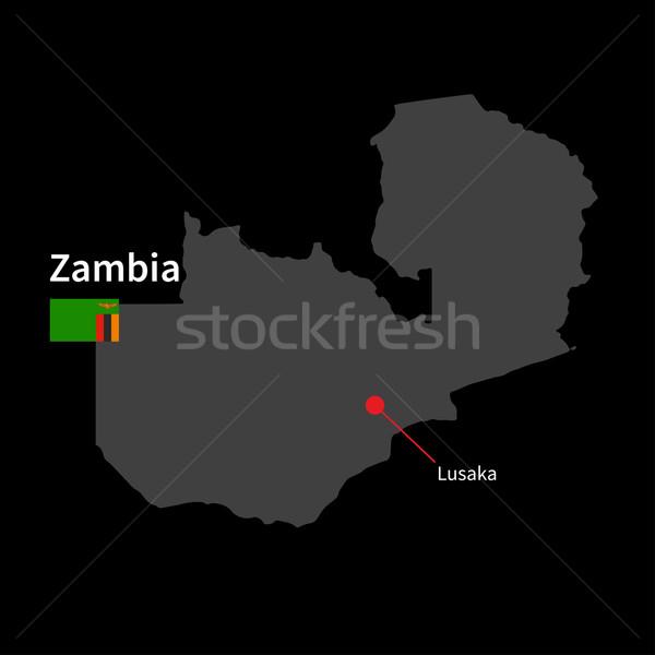 Részletes térkép Zambia város zászló fekete Stock fotó © tkacchuk