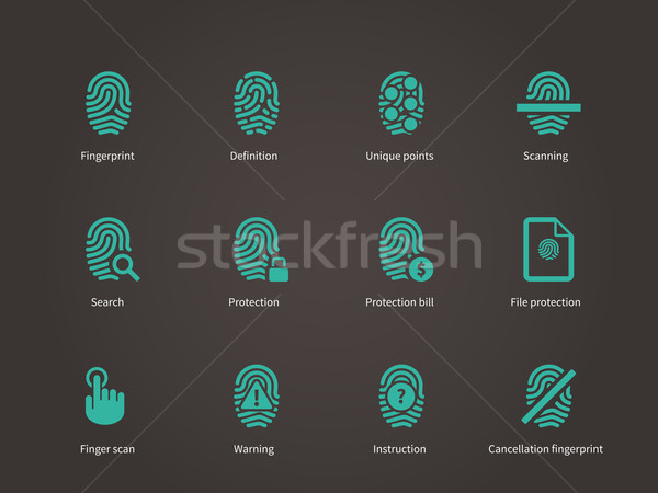 Stock photo: Fingerprint and thumbprint icons.