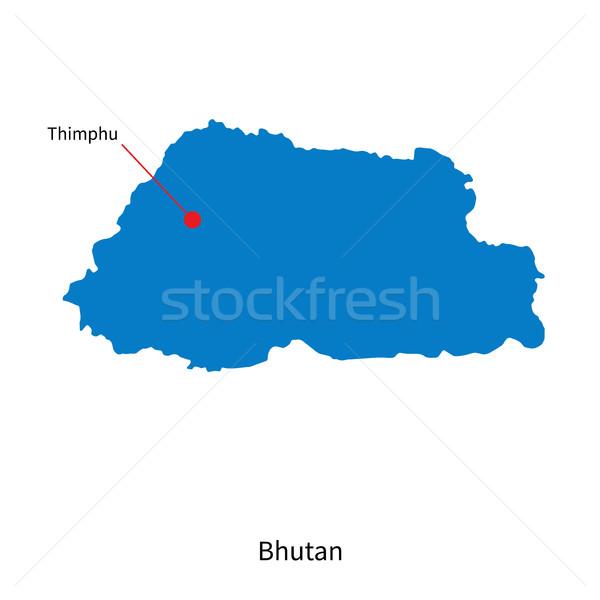 Detalhado vetor mapa Butão cidade educação Foto stock © tkacchuk