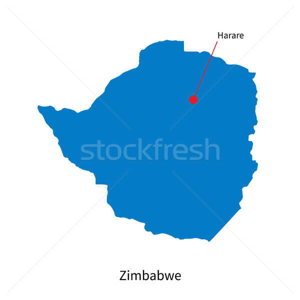 Detailed vector map of Zimbabwe and capital city Harare Stock photo © tkacchuk
