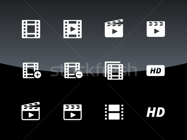 Video icons on black background. Stock photo © tkacchuk