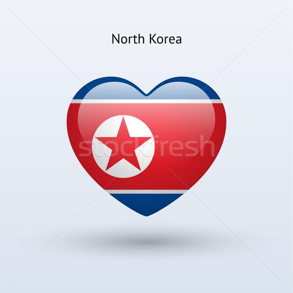 Love North Korea symbol. Heart flag icon. Stock photo © tkacchuk