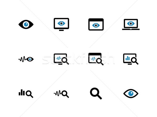 Monitoring duotone icons on white background. Stock photo © tkacchuk