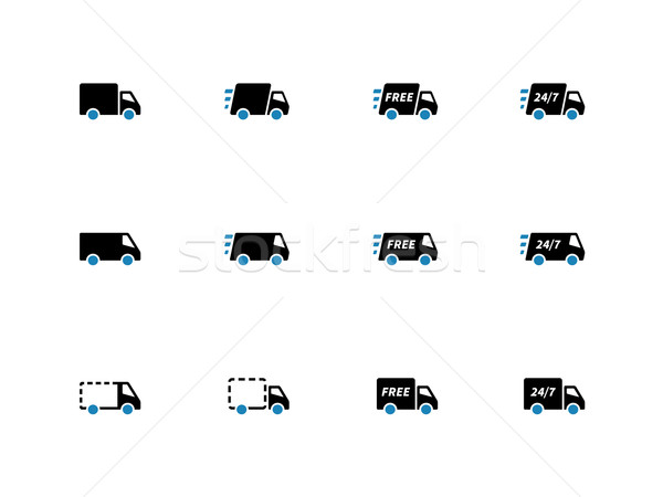 Shopping Trucks duotone icons on white background. Stock photo © tkacchuk