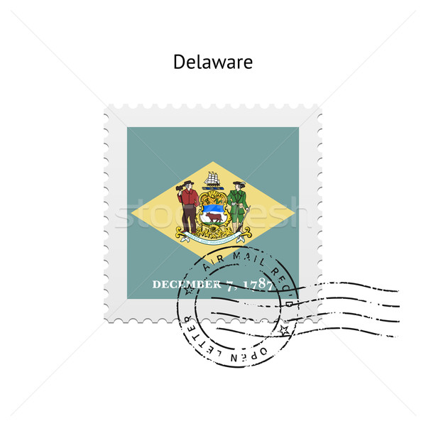 State of Delaware flag postage stamp. Stock photo © tkacchuk