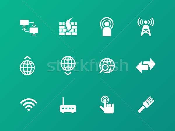 ネットワーク アイコン 緑 手 コンピュータ ネットワーク ストックフォト © tkacchuk