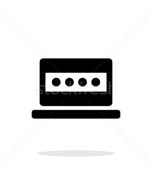 Password in laptop icon on white background. Stock photo © tkacchuk