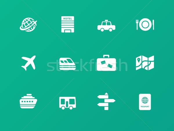 Travel icons on green background. Stock photo © tkacchuk