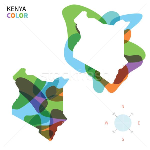 抽象的な ベクトル 色 地図 ケニア 透明な ストックフォト © tkacchuk