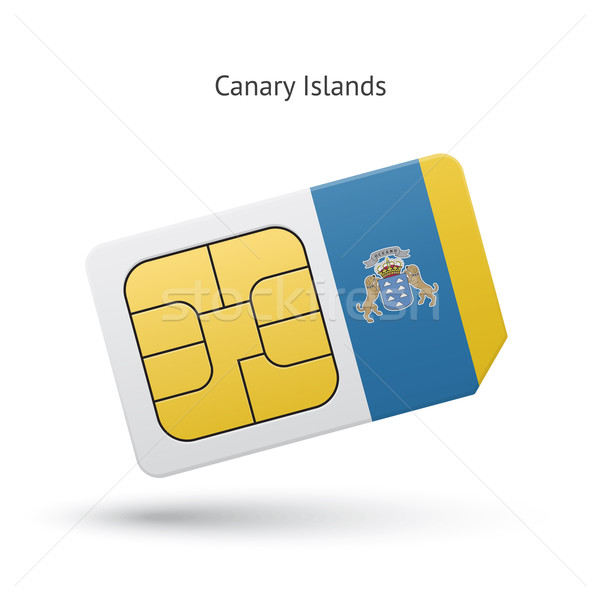 Canary Islands mobile phone sim card with flag. Stock photo © tkacchuk