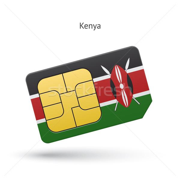 Kenya cep telefonu kart bayrak iş dizayn Stok fotoğraf © tkacchuk