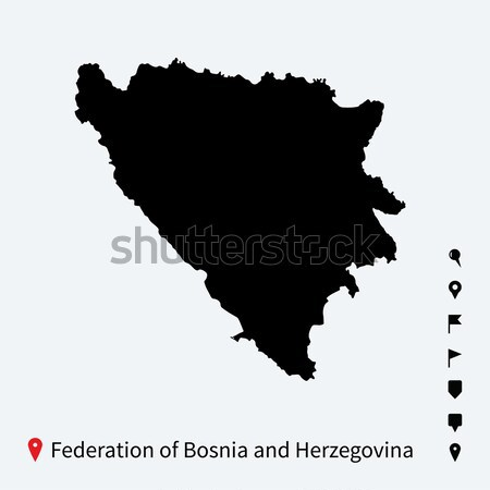High detailed vector map of Bosnia and Herzegovina with pins. Stock photo © tkacchuk
