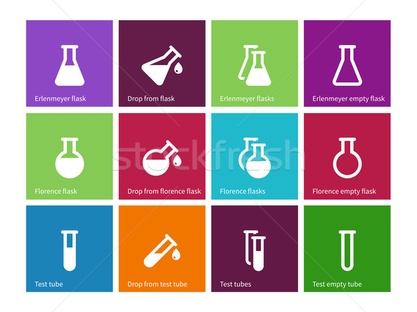 Chemical laboratory flask icons on color background. Stock photo © tkacchuk