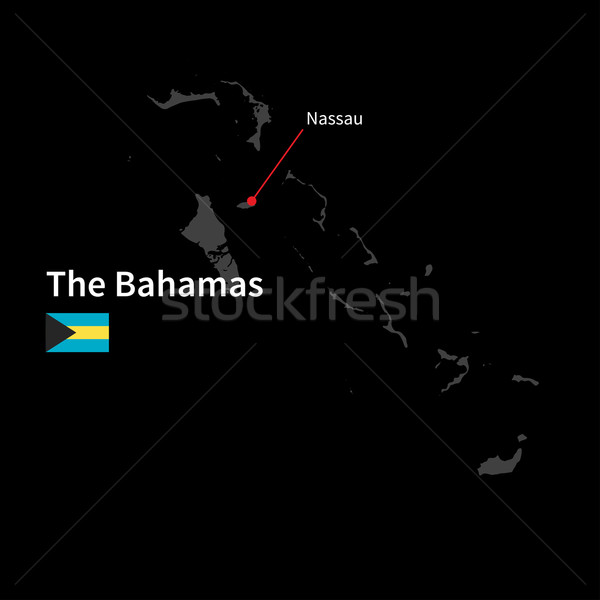 Detailed map of Bahamas and capital city Nassau with flag on black background Stock photo © tkacchuk