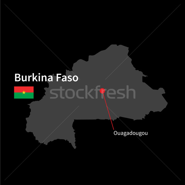 Detailed map of Burkina Faso and capital city Ouagadougou with flag on black background Stock photo © tkacchuk