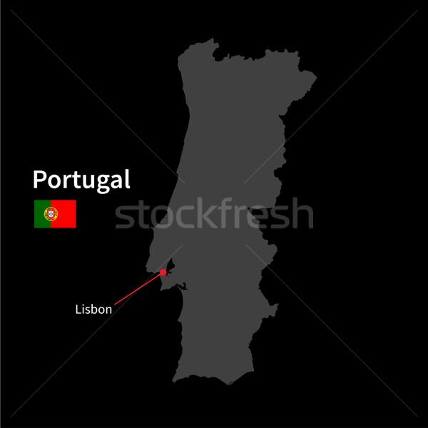 Dettagliato mappa Portogallo città Lisbona bandiera Foto d'archivio © tkacchuk