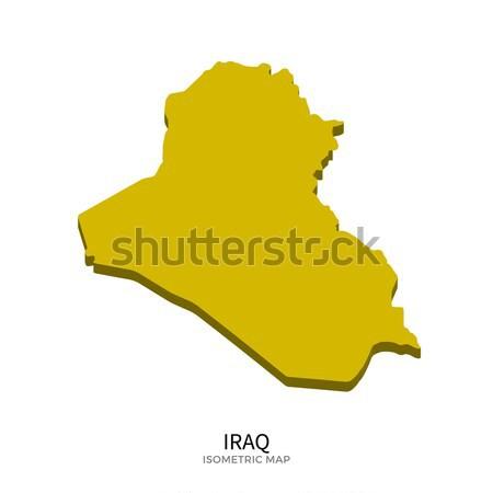 アイソメトリック 地図 イラク 詳しい 孤立した 3D ストックフォト © tkacchuk