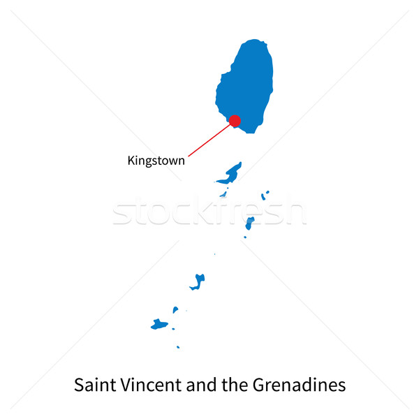 Map of Saint Vincent and the Grenadines with capital city Stock photo © tkacchuk