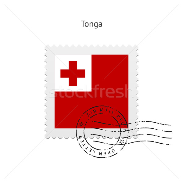 Tonga zászló postabélyeg fehér felirat levél Stock fotó © tkacchuk