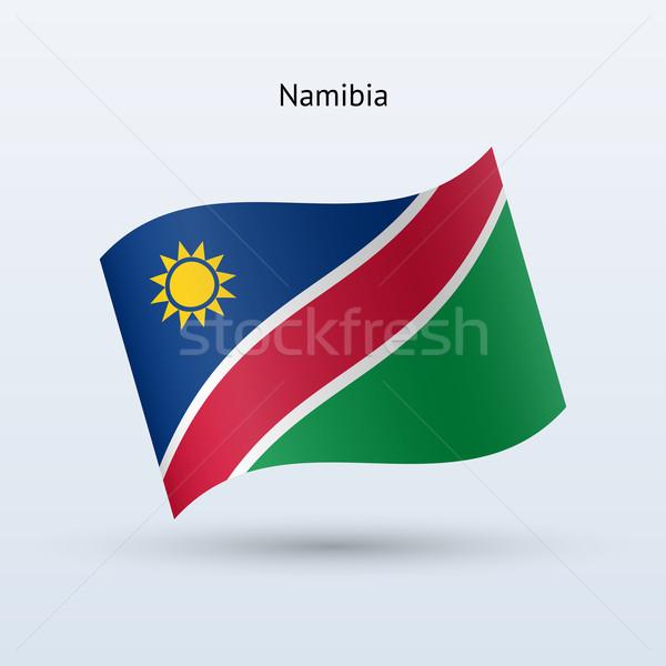 Namíbia zászló integet űrlap szürke felirat Stock fotó © tkacchuk
