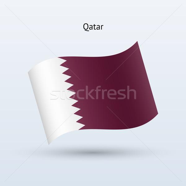 Сток-фото: Катар · флаг · форме · серый · знак