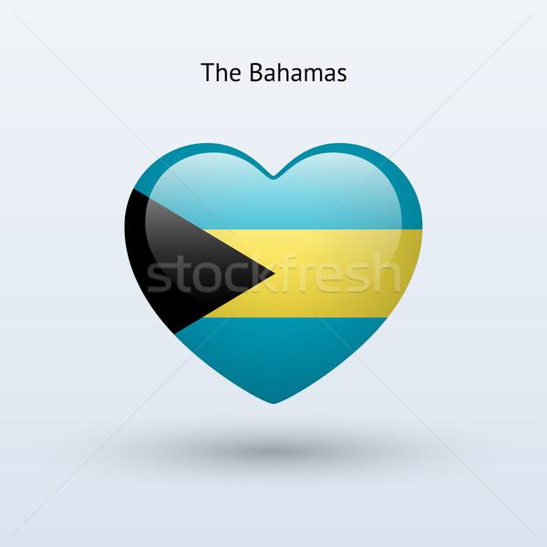 Love Bahamas symbol. Heart flag icon. Stock photo © tkacchuk