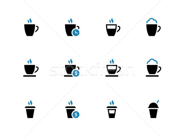 Koffiemok iconen witte koffie restaurant drinken Stockfoto © tkacchuk